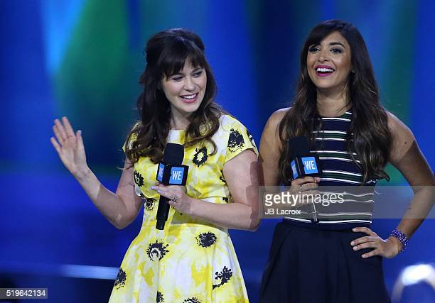 Zooey Deschanel and Hannah Simone are seen on stage during the WE Day California 2016 at The Forum on April 7 2016 in Inglewood California