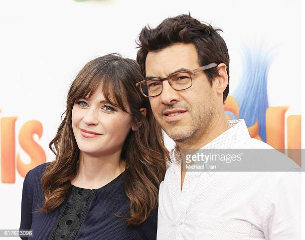 Zooey Deschanel and Jacob Pechenik arrive at the Los Angeles premiere of 20th Century Fox's Trolls held at Regency Village Theatre on October 23 2016...