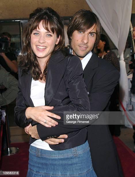 "Zooey Deschanel and Jason Schwartzman during 2004 Toronto International Film Festival - ""I Heart Huckabees"" Premiere - Arrivals at Roy Thompson Hall..."