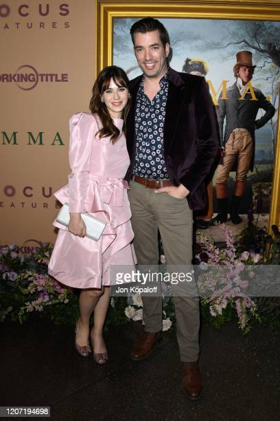 """Zooey Deschanel and Jonathan Scott attend the premiere of Focus Features' """"Emma."""" at DGA Theater on February 18, 2020 in Los Angeles, California."""