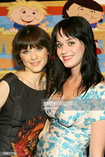 Zooey Deschanel and Katy Perry during Kid Art 2006 A Benefit for PS ARTS Sponsored by Cole Haan and Gagosian Gallery at LoFi Gallery in Los Angeles...