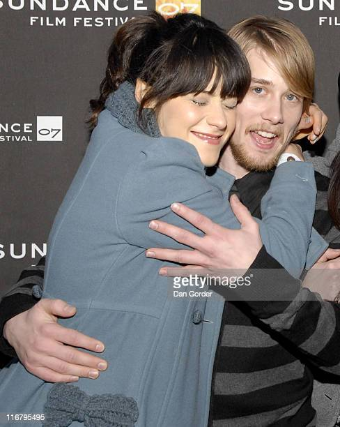 Zooey Deschanel and Lou Taylor Pucci during 2007 Sundance Film Festival 'The GoGetter' Premiere at The Library Theater in Park City Utah United States