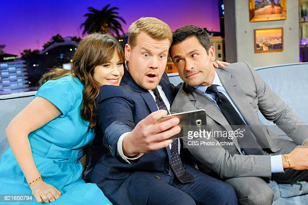 Zooey Deschanel and Mark Consuelos chat with James Corden during 'The Late Late Show with James Corden' Tuesday November 1 2016 On The CBS Television...