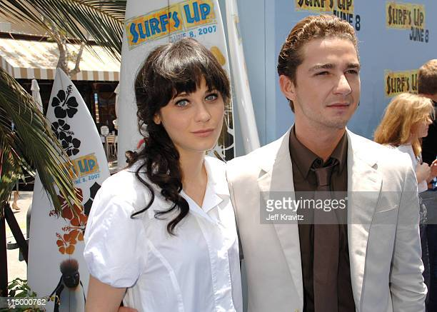 Zooey Deschanel and Shia Labeouf during 'Surf's Up' Los Angeles Premiere Red Carpet at Mann Village Theater in Westwood California United States