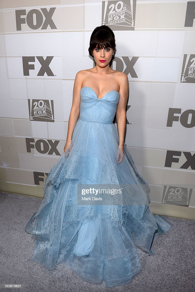 Zooey Deschanel arrives at FOX Broadcasting Company, Twentieth Century FOX Television and FX post Emmy party at Soleto on September 23, 2012 in Los Angeles, California.