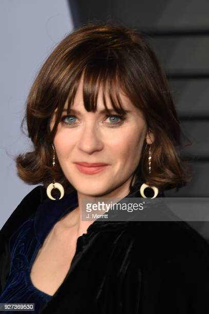 Zooey Deschanel attends the 2018 Vanity Fair Oscar Party hosted by Radhika Jones at the Wallis Annenberg Center for the Performing Arts on March 4...