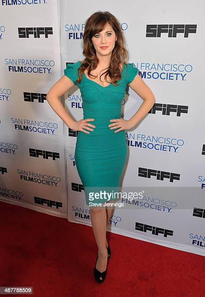 Zooey Deschanel attends the Film Society Awards at the 57th San Francisco International Film Festival at The Lodge at The Regency Center on May 1...
