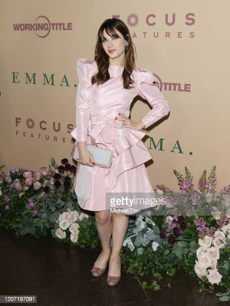 Zooey Deschanel attends the Los Angeles premiere of Focus Features' Emma held at DGA Theater on February 18 2020 in Los Angeles California