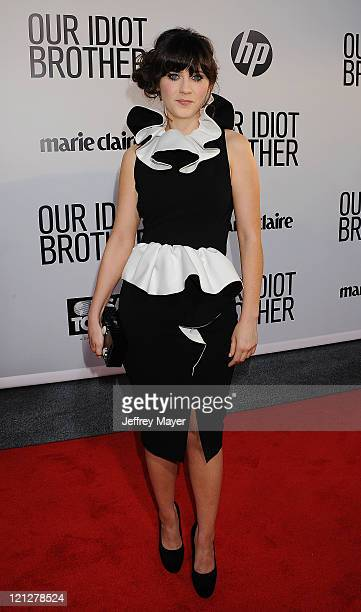 Zooey Deschanel attends the Los Angeles premiere of 'Our Idiot Brother' at ArcLight Hollywood on August 16 2011 in Hollywood California