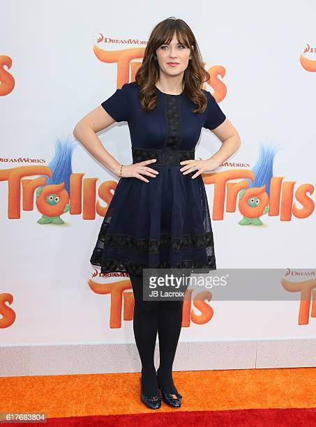 Zooey Deschanel attends the premiere of 20th Century Fox's 'Trolls' on October 23 2016 in Westwood California