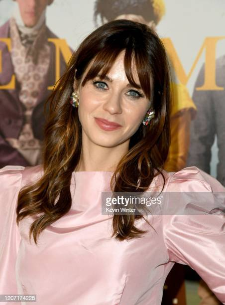 """Zooey Deschanel attends the premiere of Focus Features' """"Emma."""" at DGA Theater on February 18, 2020 in Los Angeles, California."""