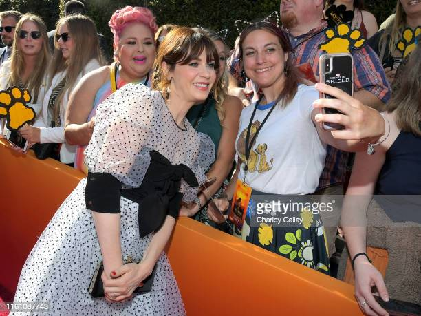 """Zooey Deschanel attends the World Premiere of Disney's """"THE LION KING"""" at the Dolby Theatre on July 09, 2019 in Hollywood, California."""