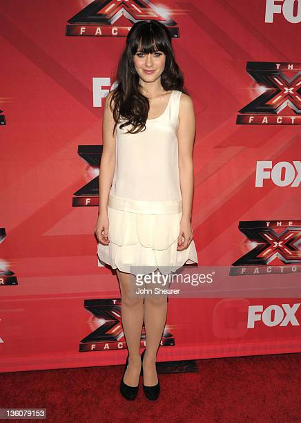 Zooey Deschanel attends 'The X Factor' Season Finale at CBS Television City on December 22 2011 in Los Angeles California