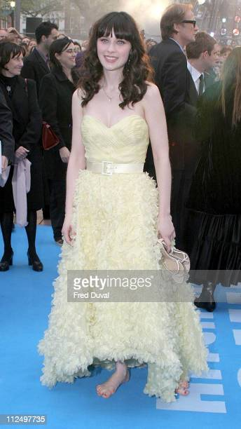 Zooey Deschanel during 'Hitchhiker's Guide to the Galaxy' London Premiere at Leicester Square The Dorchester in London Great Britain