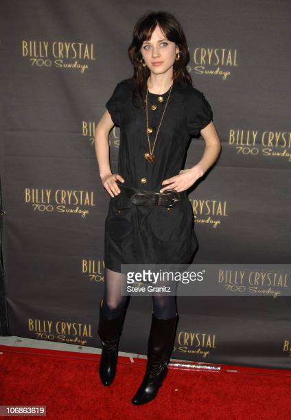 """Zooey Deschanel during Los Angeles Opening Night of The Tony Award Winning Broadway Show Billy Crystal """"700 Sundays"""" at Wilshire Theatre in Beverly..."""