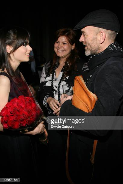 Zooey Deschanel guest and Michael Stipe during Cinema Society Hugo Boss present the premiere of Winter Passing and after party at the Tribeca Grand...