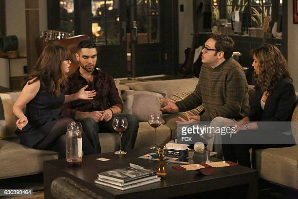 Zooey Deschanel guest star George Lako guest star Nelson Franklin and guest star Brytni Sarpy in the 'Es Good' episode of NEW GIRL airing Tuesday Dec...