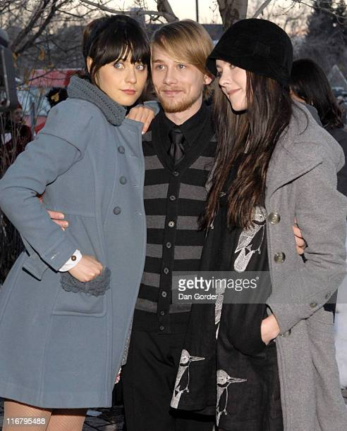 Zooey Deschanel Lou Taylor Pucci and Jena Malone during 2007 Sundance Film Festival 'The GoGetter' Premiere at The Library Theater in Park City Utah...