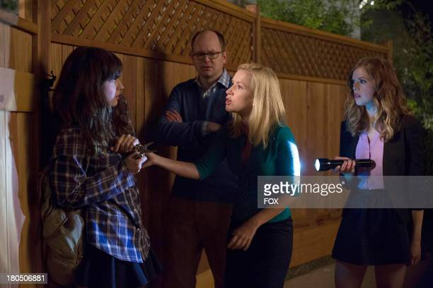 Zooey Deschanel Mark Proksch Angela Kinsey and Dreama Walker in the 'Jacooz' episode of NEW GIRL airing Tuesday Sept 24 2013 on FOX