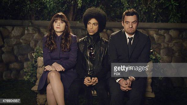 """Zooey Deschanel, music royalty Prince and Jake Johnson in the """"Prince"""" episode of NEW GIRL airing Sunday, Feb. 2 immediately after FOX Sports'..."""