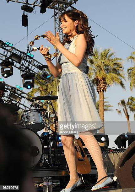 Zooey Deschanel of She Him perform during Day 1 of the Coachella Valley Music Arts Festival 2010 held at the Empire Polo Club on April 16 2010 in...