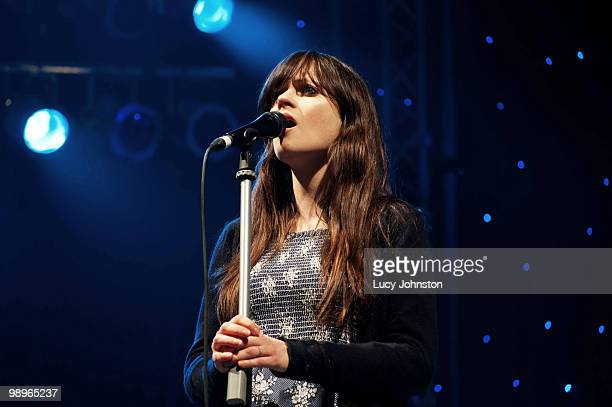 Zooey Deschanel of She Him performs on stage during day two of All Tomorrow's Parties Festival at Butlins Holiday Centre on May 8 2010 in Minehead...