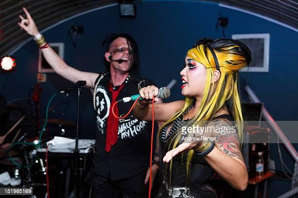 ZooG and Destroyx of Angelspit performs on stage at Cockpit on September 13, 2012 in Leeds, United Kingdom.