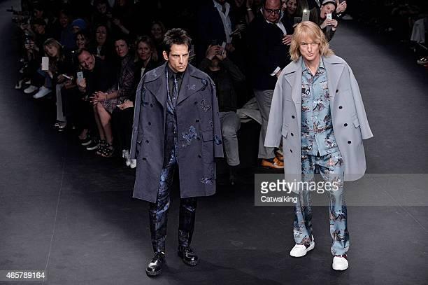 Zoolander stars Ben Stiller and Owen Wilson walk the runway at the Valentino Autumn Winter 2015 fashion show during Paris Fashion Week on March 10...