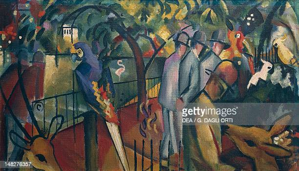 Zoological Garden I by August Macke oil on canvas 58x98 cm Monaco Städtische Galerie Im Lenbachhaus Lenbach Collections Picture Gallery