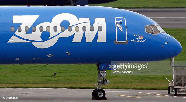 Zoom airlines plane sits at Glasgow airport after the low cost transatlantic airline went bust August 29 2008 in Glasgow Scotland Passengers were...