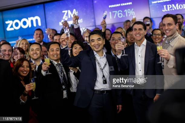 Zoom founder Eric Yuan make a toast after the Nasdaq opening bell ceremony on April 18 2019 in New York City The videoconferencing software company...
