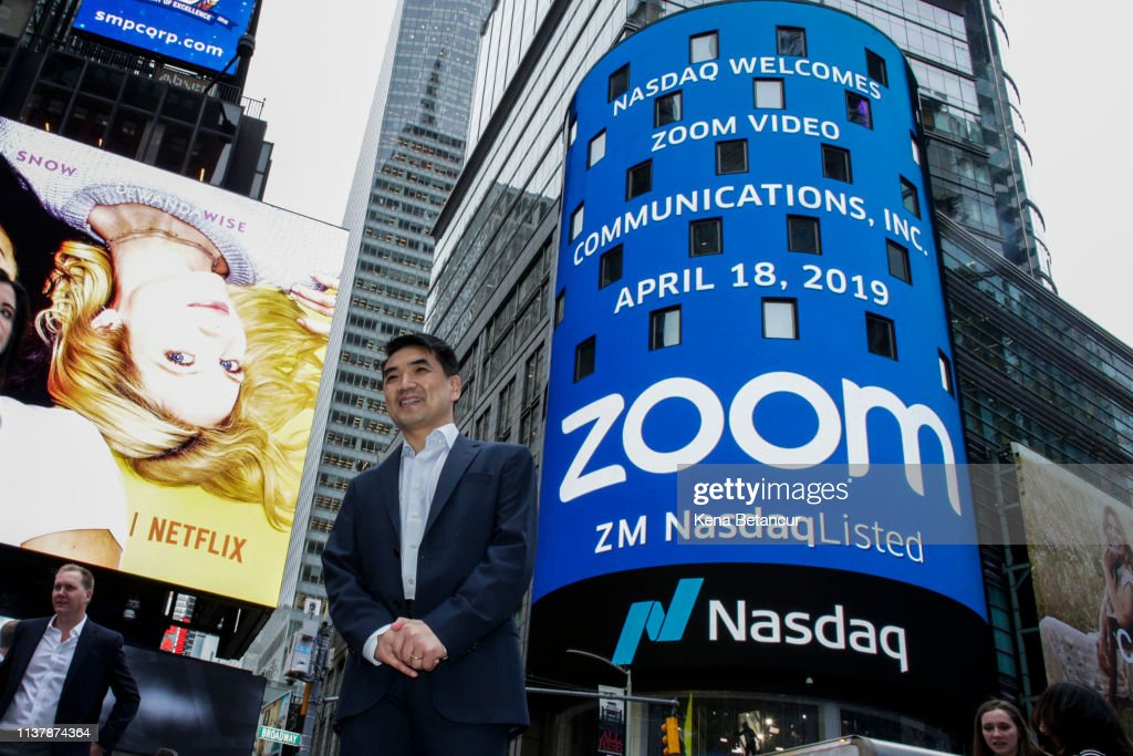 Video Conferencing Software Zoom Goes Public On Nasdaq Exchange : News Photo