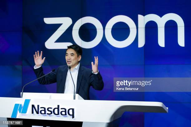 Zoom founder Eric Yuan speaks before the Nasdaq opening bell ceremony on April 18, 2019 in New York City. The video-conferencing software company...