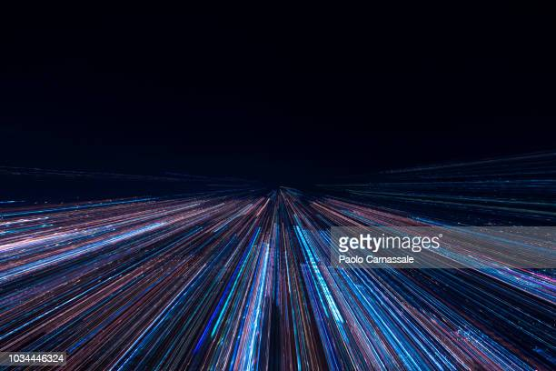 zoom in of city lights view from high - long exposure stock pictures, royalty-free photos & images