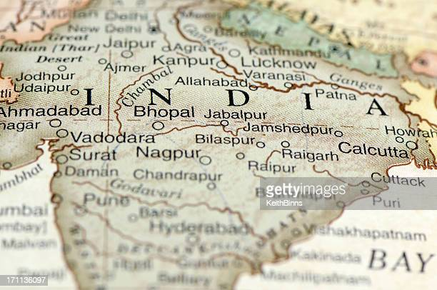 a zoom in on a map of india and its states - madhya pradesh stock pictures, royalty-free photos & images
