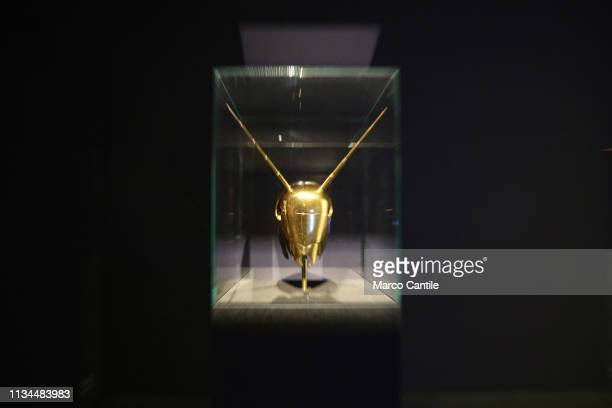 A zooming gold ant by the artist Jan Fabre in the Red Gold exhibition in the Capodimonte museum in Naples