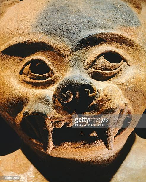 Zoomorphic style terracotta incense burner, height 64,5cm, width 22cm. From the Valley of Sula . Detail of the face. Mayan Civilization, recent...