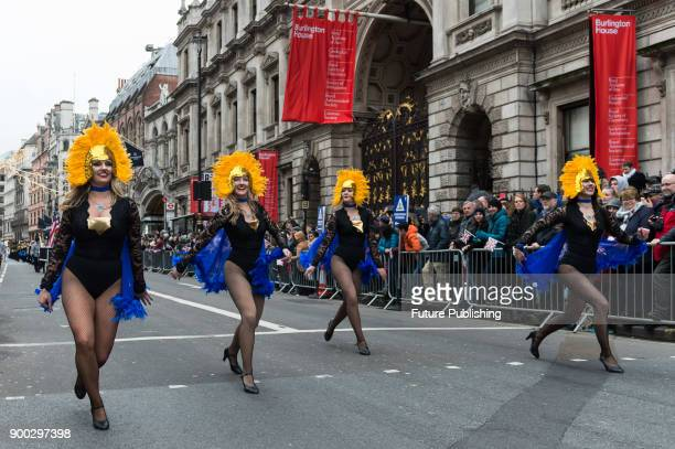 ZooNation Youth Company performs during London's New Year's Day Parade 2018 Around 500000 spectators gather along the parade route to watch more than...