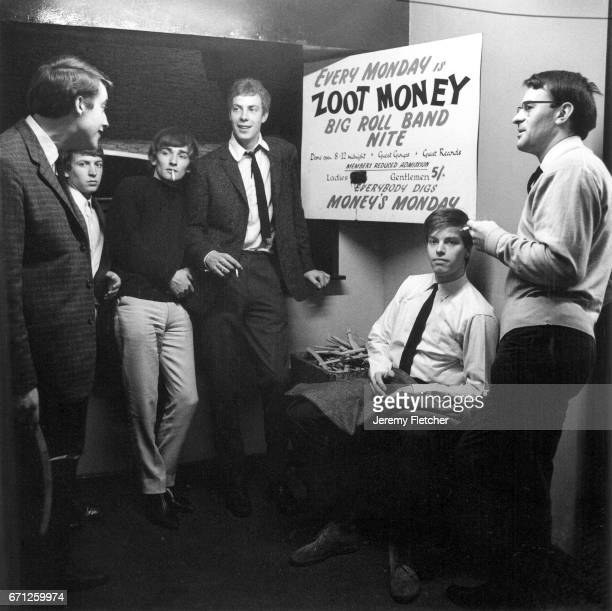 Zoot Money's Big Roll band backstage at the Flamingo Club Soho London 25th May 1964 Zoot Money is far left future Police guitarist Andy Summers is...