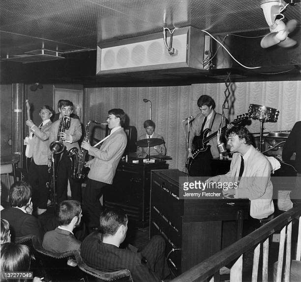 Zoot Money's Big Roll band perform on stage at the Flamingo Club Soho London 25th May 1964 Zoot Money is far right playing the organ future Police...