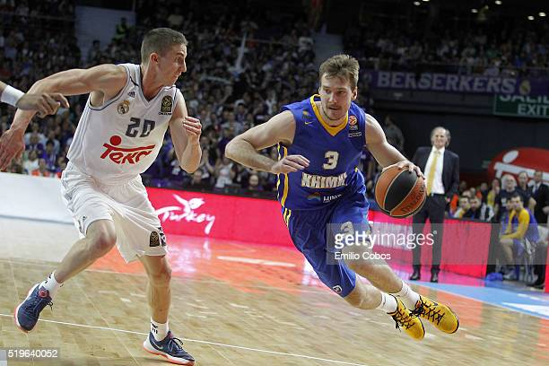Zoran Dragic #3 of Khimki Moscow Region in action during the 20152016 Turkish Airlines Euroleague Basketball Top 16 Round 14 game between Real Madrid...
