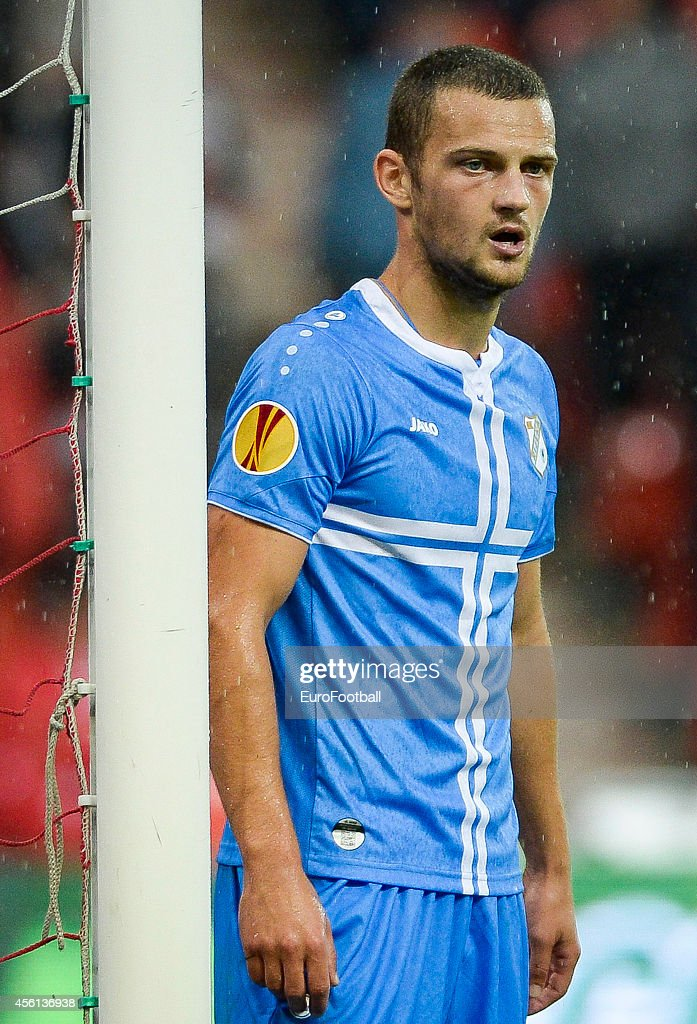 Zoran Kvrzic of HNK Rijeka in action during the UEFA Europa League Group G match between R. Standard de Liege and HNK Rijeka at the Stade Maurice Dufrasne on September 18,2014 in Liege,Belgium.