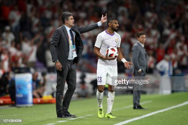 Zoran Mamic head coach of Al Ain reacts during the FIFA Club World Cup UAE 2018 Semi Final Match between River Plate and Al Ain at Hazza Bin Zayed...