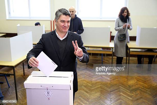 Zoran Milanovic Croatian Prime Minister and leader of the Croatian Social Democratic Party casts his ballot for the parliamentary elections at a...