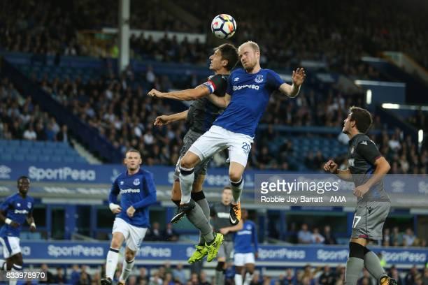 Zoran Nizic of Hadjuk Split and Davy Klaassen of Everton during the UEFA Europa League Qualifying PlayOffs round first leg match between Everton FC...