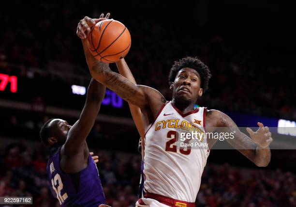 Zoran Talley Jr #23 of the Iowa State Cyclones pulls in a rebound over Kouat Noi of the TCU Horned Frogs in the second half of play at Hilton...
