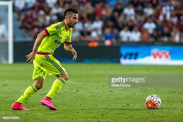 Zoran Tosic of CSKA Moscow in action during the UEFA Champions League Third Qualifying Round 2nd Leg match between Sparta Prague and CSKA Moscow...
