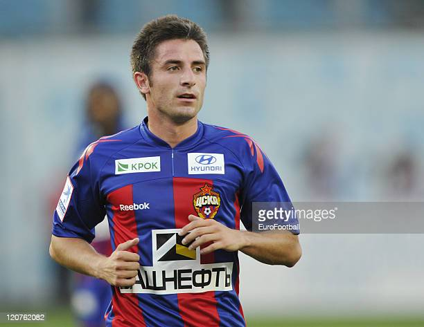 Zoran Tosic of FC CSKA Moscow in action during the Russian Football League Championship match between FC CSKA Moscow and FC Zenit StPetersburg at the...