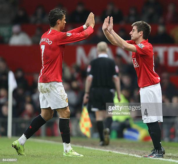 Zoran Tosic of Manchester United comes on as a substitute for Cristiano Ronaldo during the FA Cup sponsored by e.on Fourth Round match between...