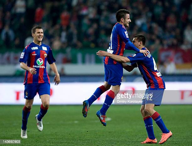 Zoran Tosic of PFC CSKA Moscow celebrates after scoring a goal during the Russian Football League Championship match between FC Lokomotiv Moscow and...